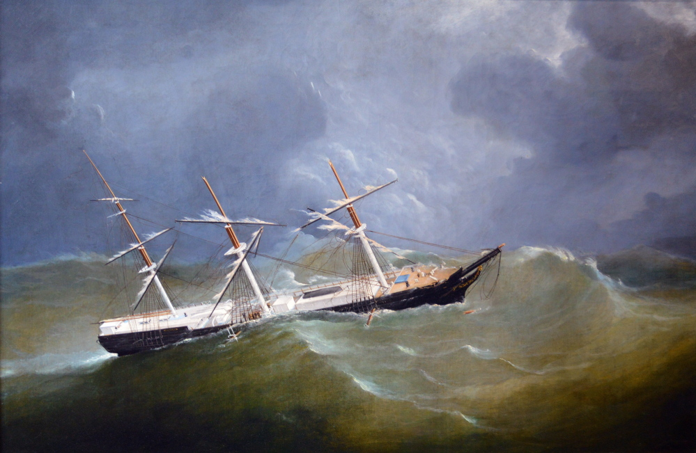 "John and Frederick Tudgay, ""Skolfield Ship Screamer,"" oil on canvas, 1860s, courtesy of Lorraine Lowell. Built in Harpswell in 1852, Screamer was lost in heavy weather off Cape Hatteras in 1882."