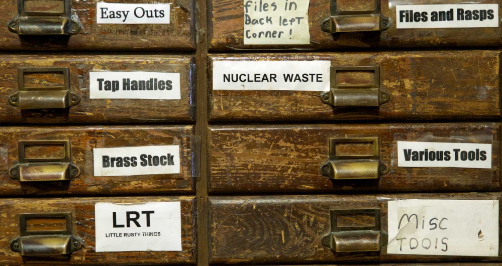 """Labels such as """"nuclear waste"""" and """"Little Rusty Things"""" on drawers at the Liberty Tool Co. store in Liberty reveal Skip Brack's sense of humor."""
