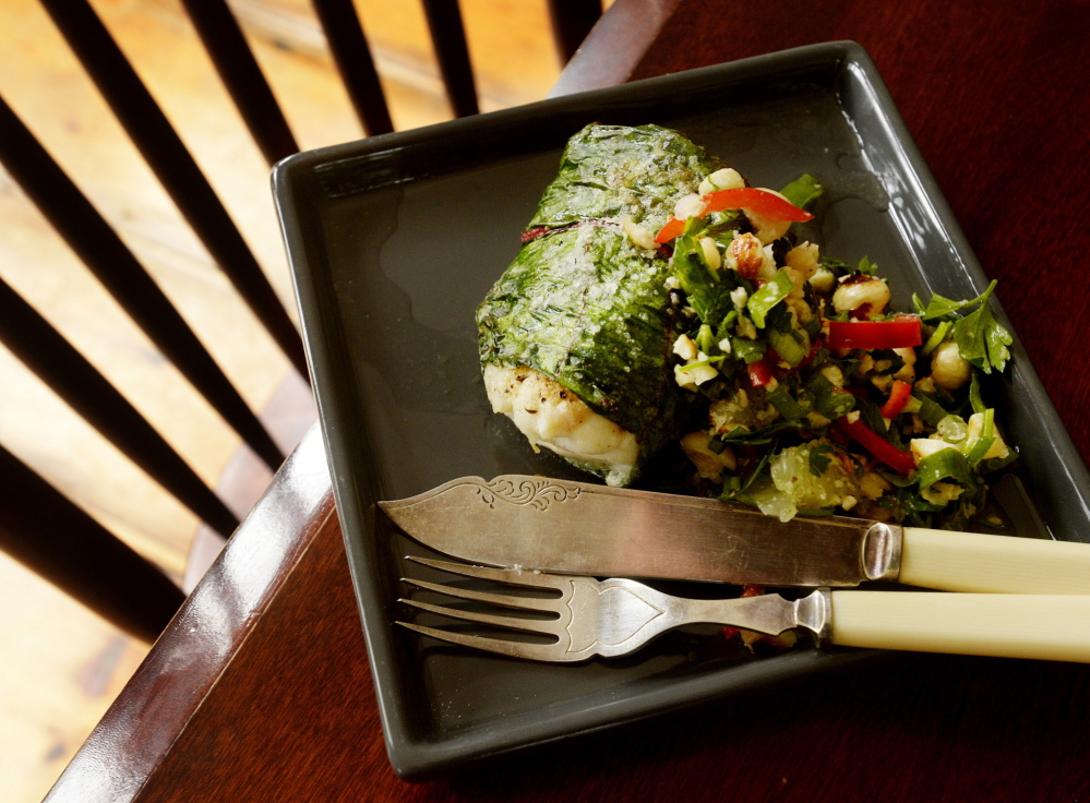 Rainbow Chard-Wrapped White Flaky Fish with Lemon, Parsley and Hazelnut Relish, a recipe from Christine Burns Rudalevige, a Brunswick-based cooking teacher and seafood blogger.