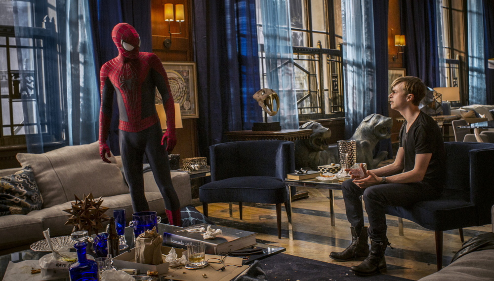 "Andrew Garfield, left, and Dane DeHaan converse in a scene from ""The Amazing Spider-Man 2."""