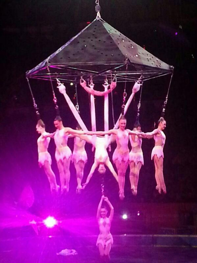 Performers hang in a chandelier formation during a 'hairialist' stunt at the Ringling Brothers and Barnum and Bailey Circus on Friday in Providence, R.I.