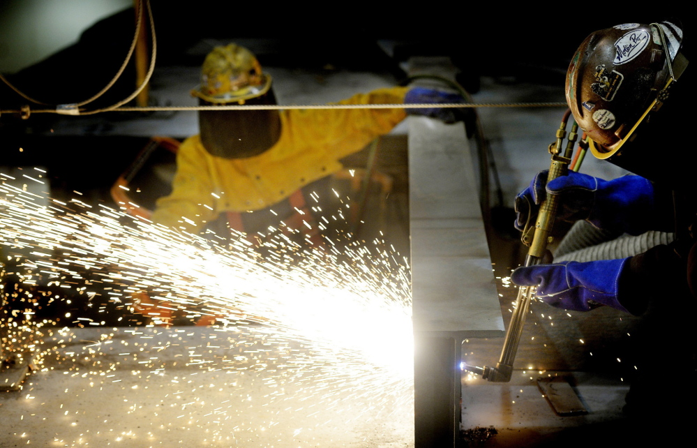 Welders work on the beam of the second DDG-1000 Zumwalt-class destroyer at Bath Iron Works in Bath on Thursday. (Photographs taken in the shipyard were reviewed by Bath Iron Works, and no photography was allowed during Thursday's tour of the USS Zumwalt.)