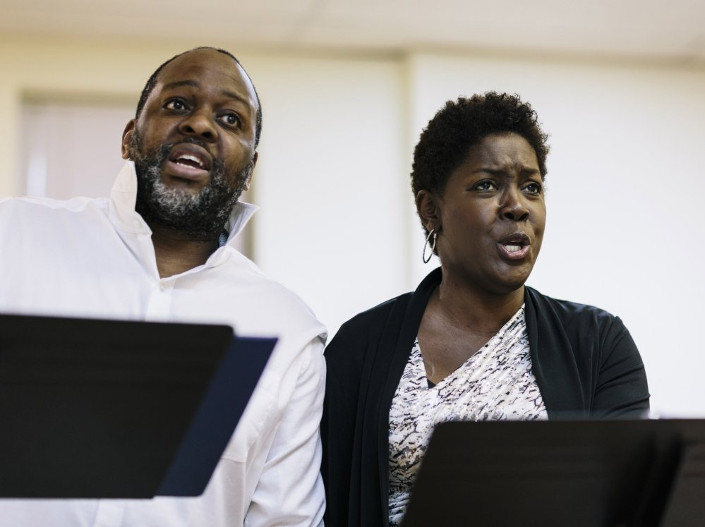 "Stephen Salters and Lori-Kaye Miller sing at a rehearsal of ""The Summer King"" in New York April 29. Composed by Mainer Daniel Sonenberg, the opera tells the story of a Negro Leagues baseball star."