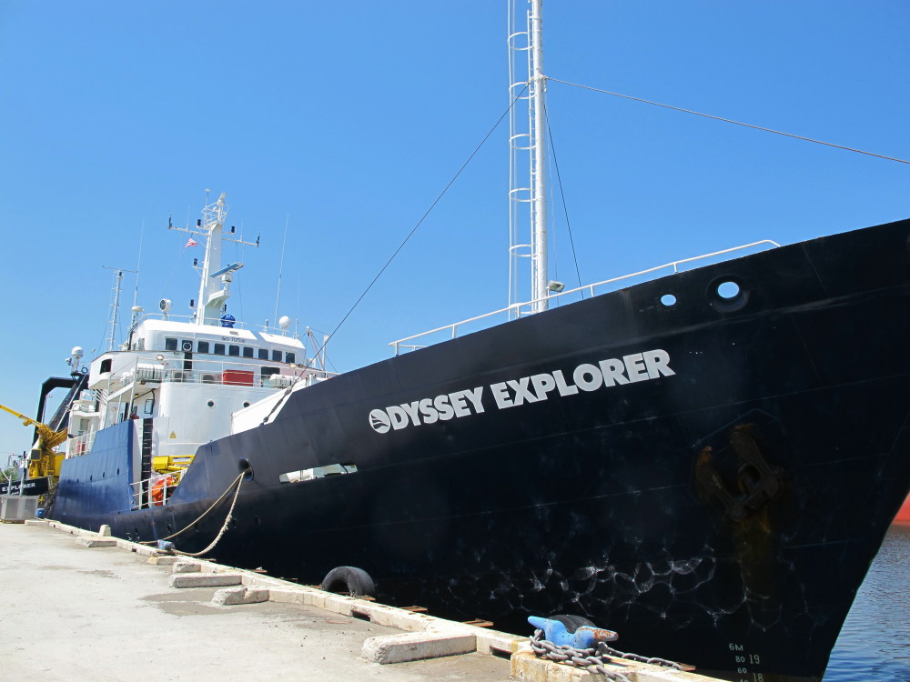 The Odyssey Explorer sits at a dock in North Charleston, S.C., in this April 22, 2014, photo.
