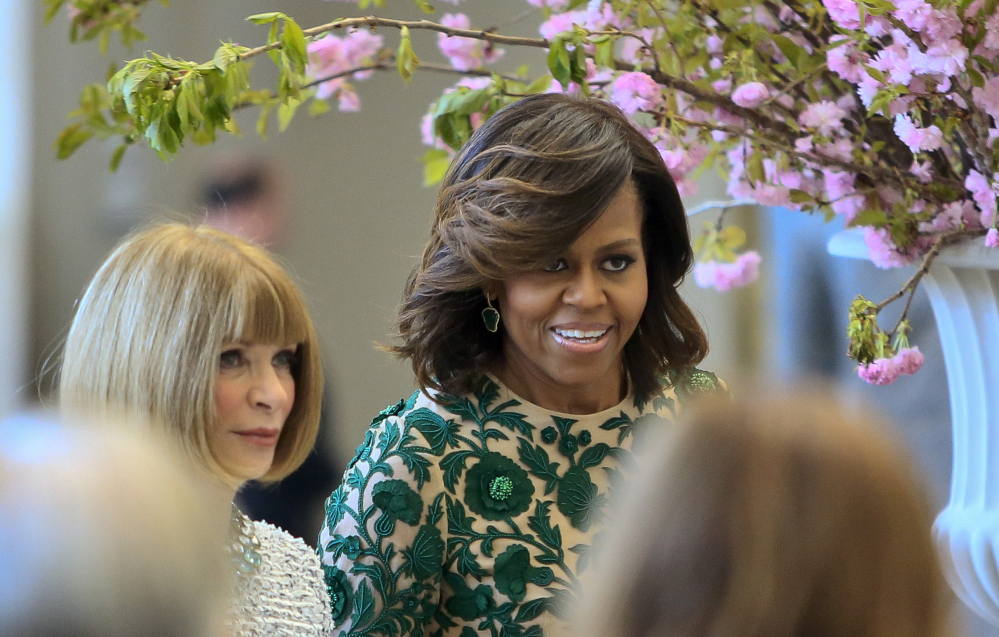 First lady Michelle Obama and Vogue editor Anna Wintour appear at Monday's dedication ceremony.