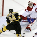 Montreal Canadiens goalie Carey Price has stopped plenty of Boston shots, including this one from Carl Soderberg, but the Bruins are saying they know the trick to beating Price.