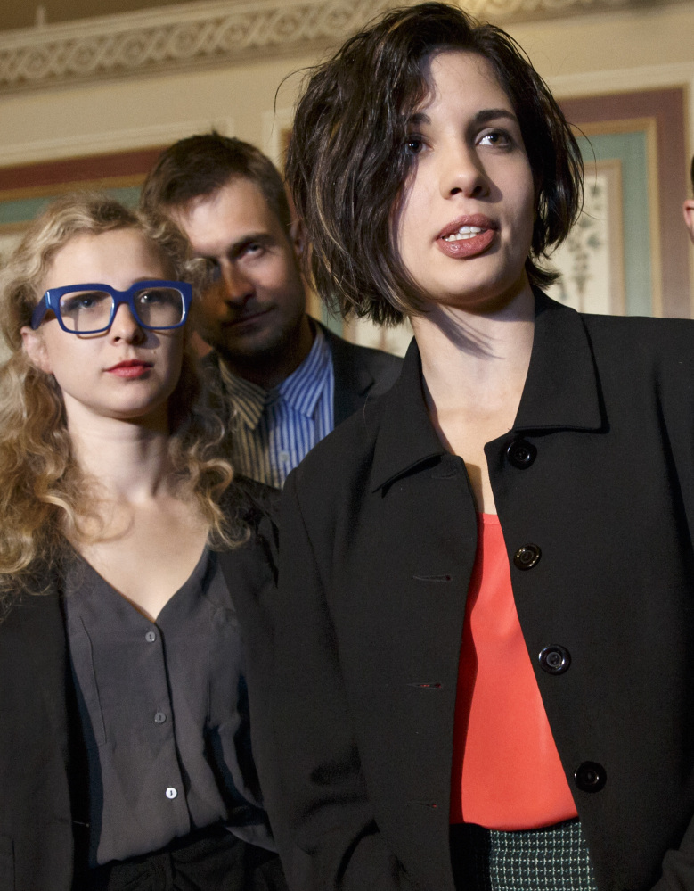 Maria Alekhina, left, and Nadezhda Tolokonnikova of Pussy Riot appear in Washington on Tuesday.
