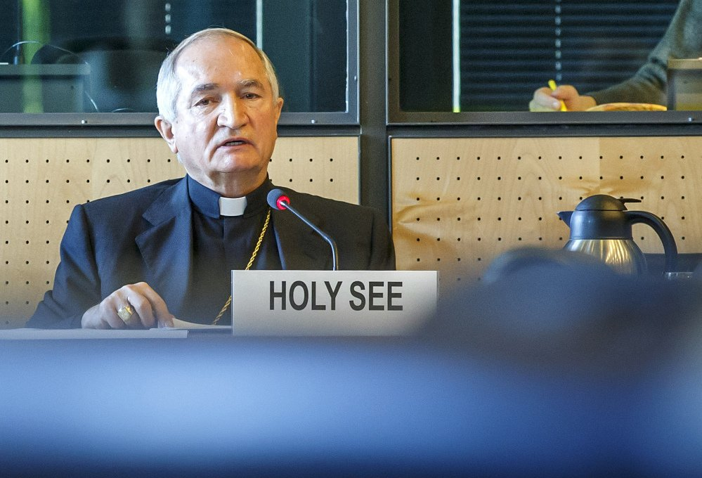 The Vatican's U.N. ambassador in Geneva, Archbishop Silvano Tomasi, speaks at a hearing of the U.N. committee monitoring implementation of the U.N. treaty against torture.