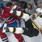 Patrice Bergeron, checked by Montreal's Douglas Murray, and the Bruins have been upended in two of the first three games of their playoff series.