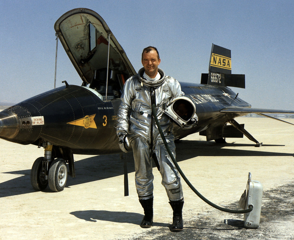 Research pilot Bill Dana stands in front of the X-15 at the Dryden Flight Research Center at Edwards Air Force Base, Calif., in 1967.