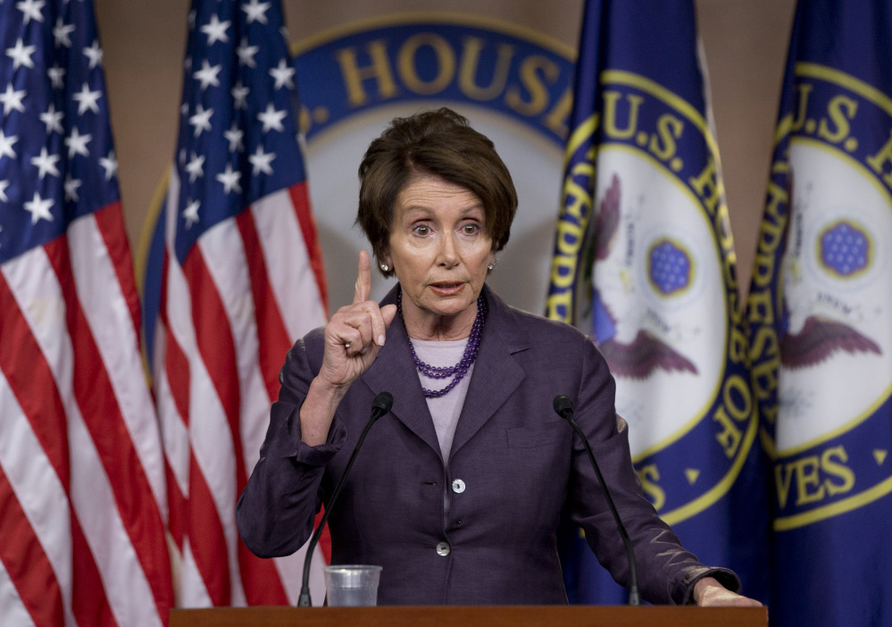 """House Minority Leader Nancy Pelosi, D-Calif., speaks Friday in Washington. She called the newest probe of the attack on the U.S. diplomatic mission in Libya a """"political stunt."""""""