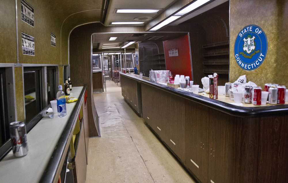 The bar car on the 7:07 p.m. train from Grand Central Terminal in New York to New Haven, Conn., is empty of riders after its run on Thursday. The cars have been a fixture on Metro-North Railroad trains for at least a half century.
