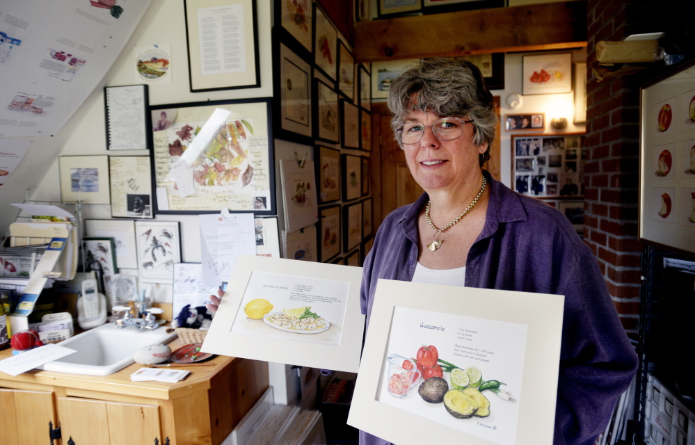 Brenda Erickson shows off some of her work in her home studio in the village of Round Pond in Bristol.