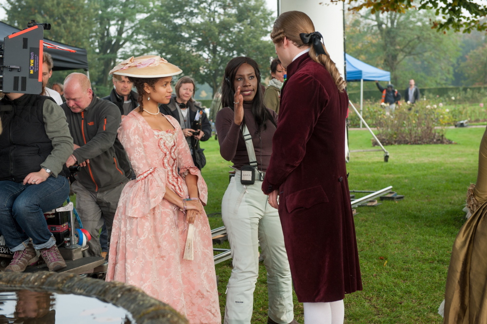 "Mbatha-Raw, director Amma Asante and James Norton on the set of ""Belle."""