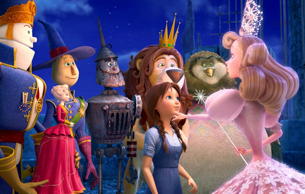"Marshal Mallow, China Princess, The Scarecrow, Tin Man, Dorothy Gale, Cowardly Lion, Wiser the Owl and Glinda from ""Legends of Oz: Dorothy's Return."""