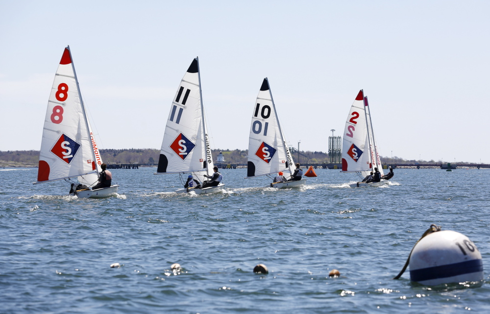 Sailors in 420-class boats compete Sunday in Portland Harbor in the B division of the Northern New England Regatta.