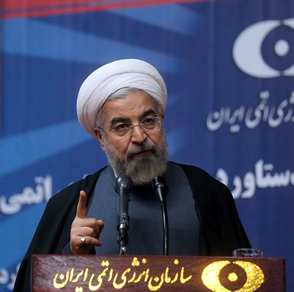 Iran's President Hassan Rouhani speaks to medical and nuclear experts in Tehran, Iran, on Sunday, in photo released by the office of the Iranian presidency.