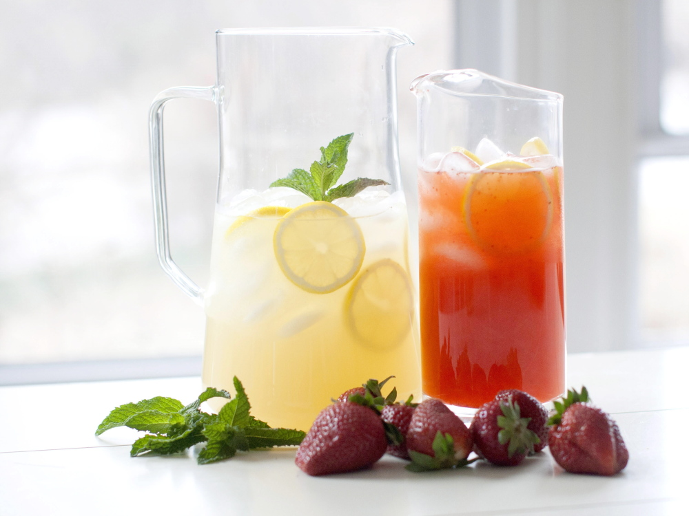 Rocking chair lemonade and strawberry lemonade are two favorites among the many refreshing drinks easily made with simple syrup and fruits and herbs.