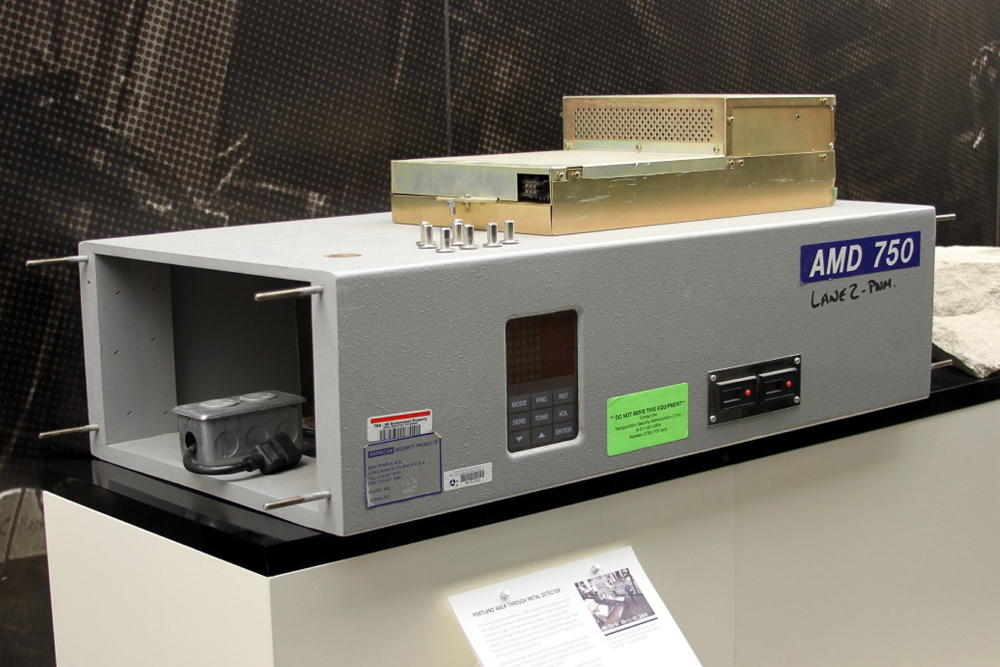 Part of a scanner that two Sept. 11 hijackers passed through at the Portland jetport is displayed at a museum at the Transportation Security Administration in Arlington, Va.