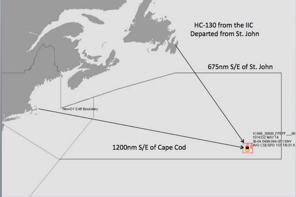 This U.S. Coast Guard map shows the position of the Tao indicated by its beacon.