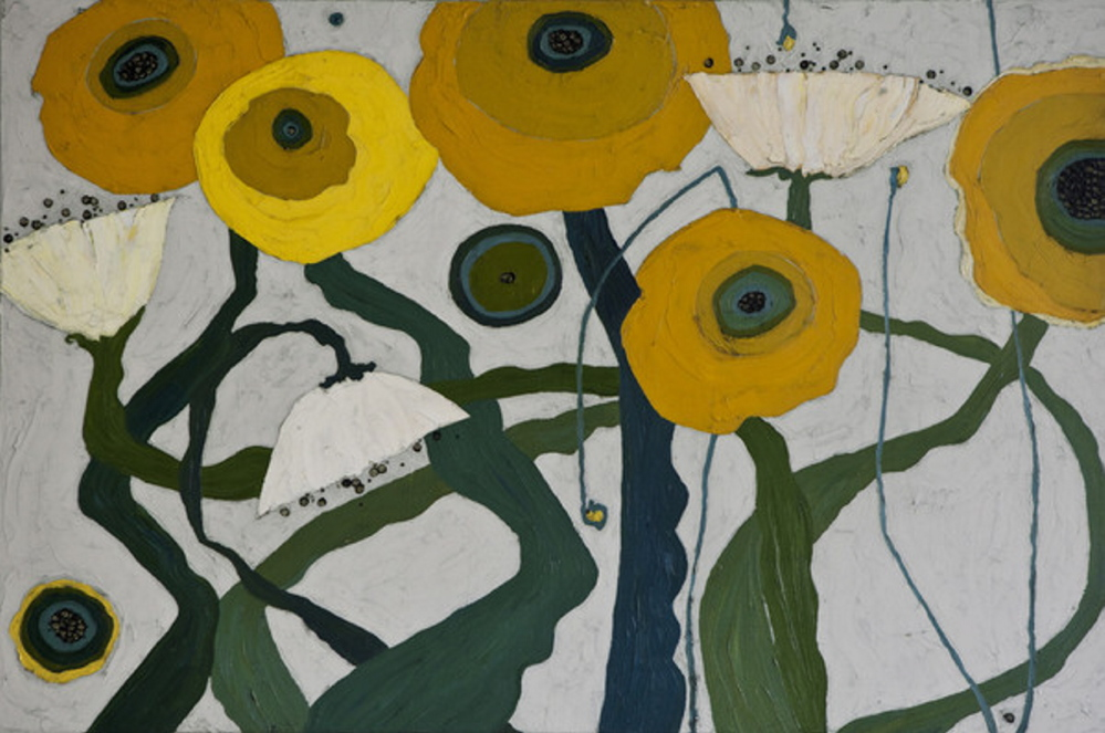 "Karen Tusinski's ""Yellow Poppyfield Patch,"" oil on canvas"