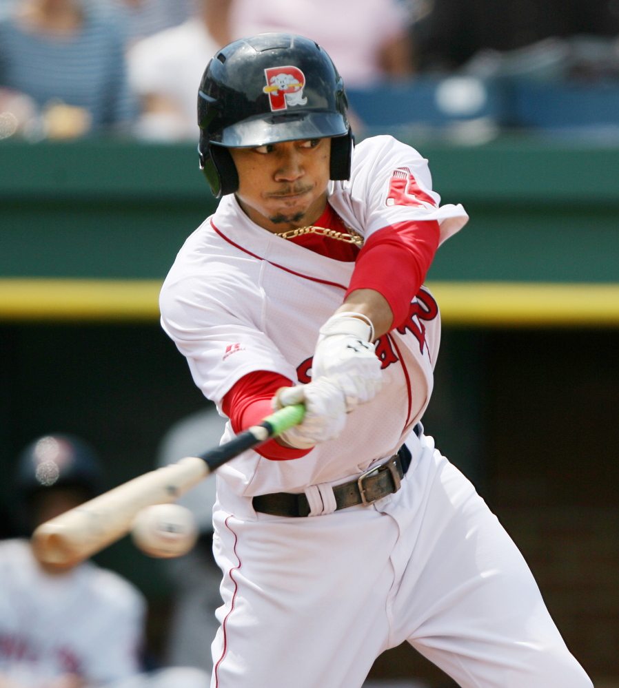 Though Mookie Betts failed to get on base Saturday for the first time in 67 regular-season games, he did drive in two runs with infield grounders that helped the first-place Portland Sea Dogs edge the Trenton Thunder 4-3 at Hadlock Field.