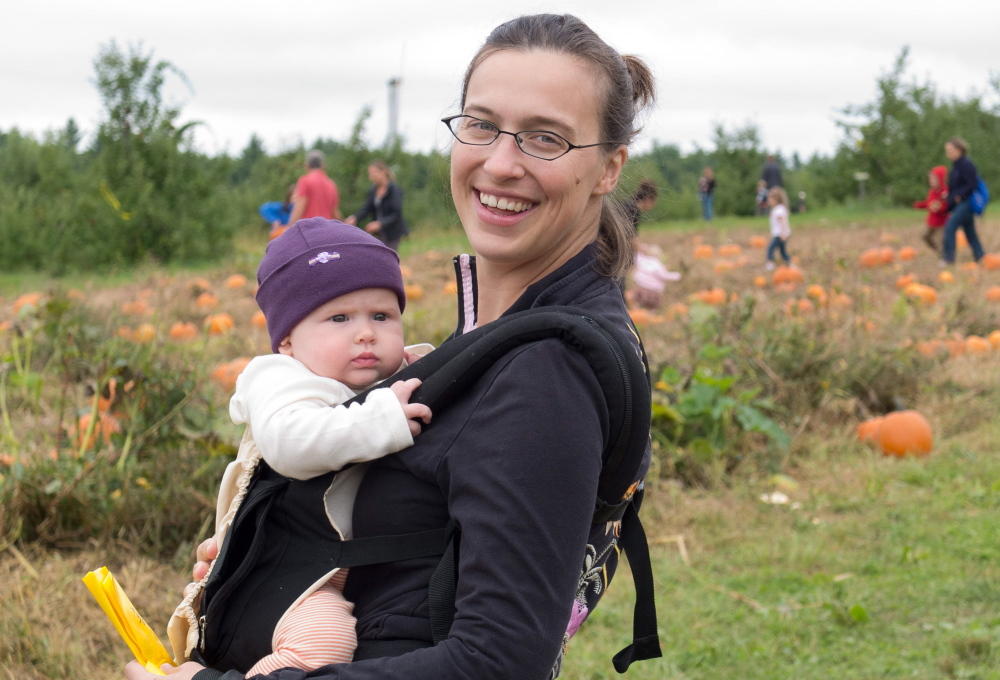 Emily Griffith of Brunswick, shown on a pumpkin patch outing with her daughter Lydia, has made freezable burritos for friends with newborns. And she and her husband, Dave Griffith, made and froze a batch of burritos (see accompanying recipe) for themselves before the birth on May 13 of their second daughter, Tess Marie.