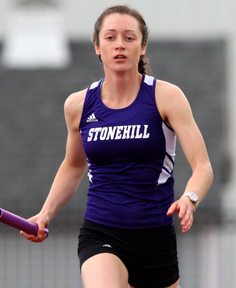Stonehill junior Maria Curit of Biddeford switched from the 400 to the 800 meters after running a fast leg in a distance medley relay.