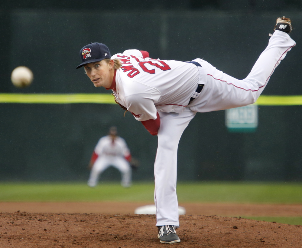 Henry Owens of the Portland Sea Dogs looked dominant again Monday night at Hadlock Field, but again was out of the game early, leaving after four innings and 89 pitches. Owens strikes out so many that his pitch count rises when he also issues walks.