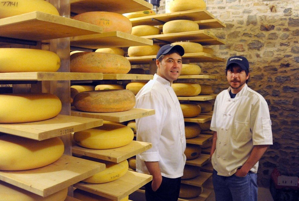 Cheesemakers Sam Kennedy, left, and Matt Hettlinger with some of their products at The Farm at Doe Run in Coatesville, Pennsylvania, outside Philadelphia.