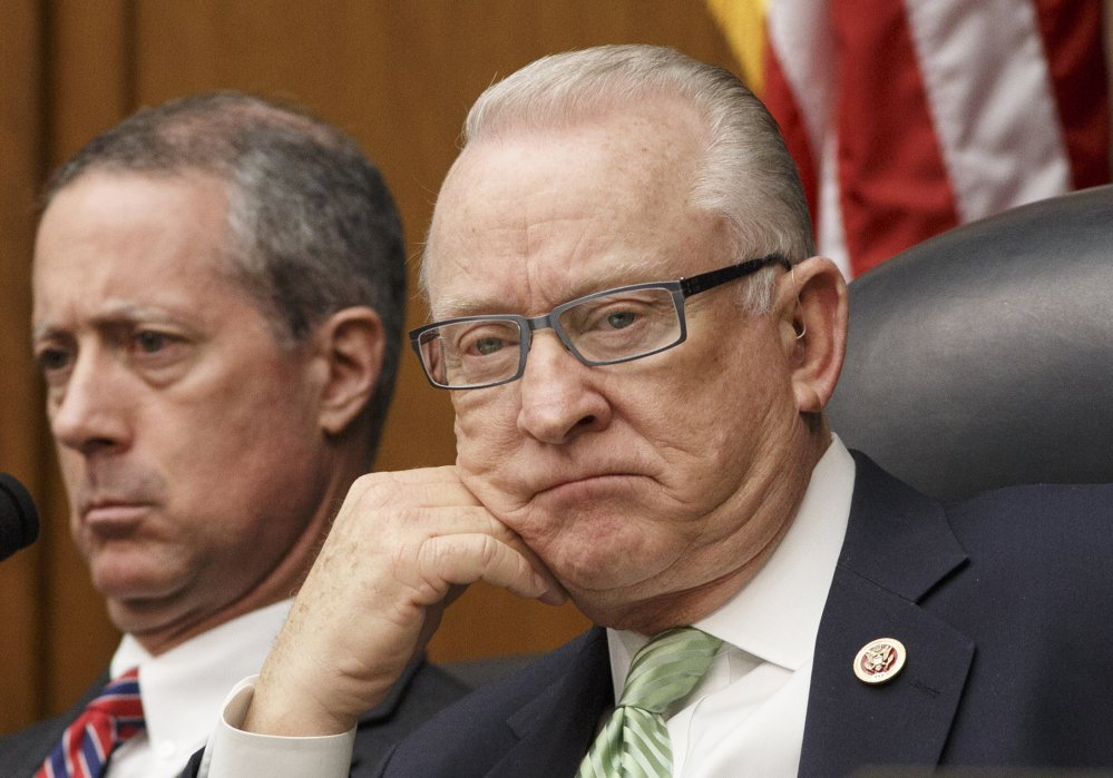 House Armed Services Chairman Rep. Howard P. McKeon, R-Calif., joined at left by Rep. Mac Thornberry, R-Texas, listens to testimony on Capitol Hill.