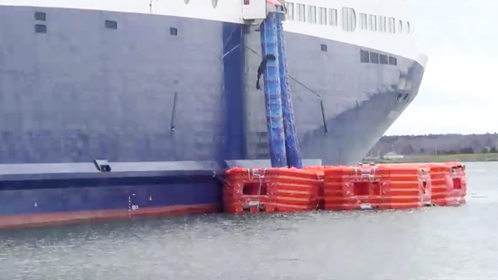 Emergency chutes carry ladders that would enable passengers to climb into rafts should the Nova Star need to be evacuated at sea.