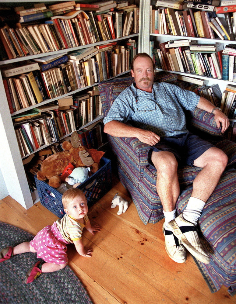 Author Bill Roorbach in 2001 with his daughter, Elysia Pearl, who is now a 13-year-old writer and Maine Literary Award nominee, at home in West Farmington