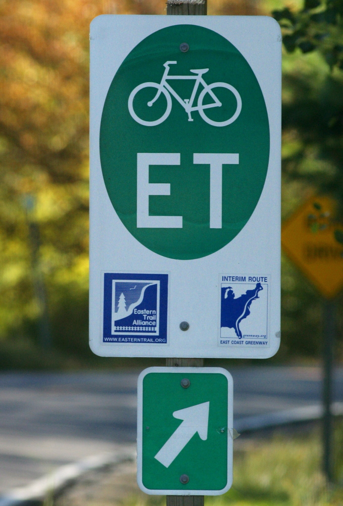 An Eastern Trail sign along Broadturn Road in Scarborough is part of a well-signed route for cyclists.
