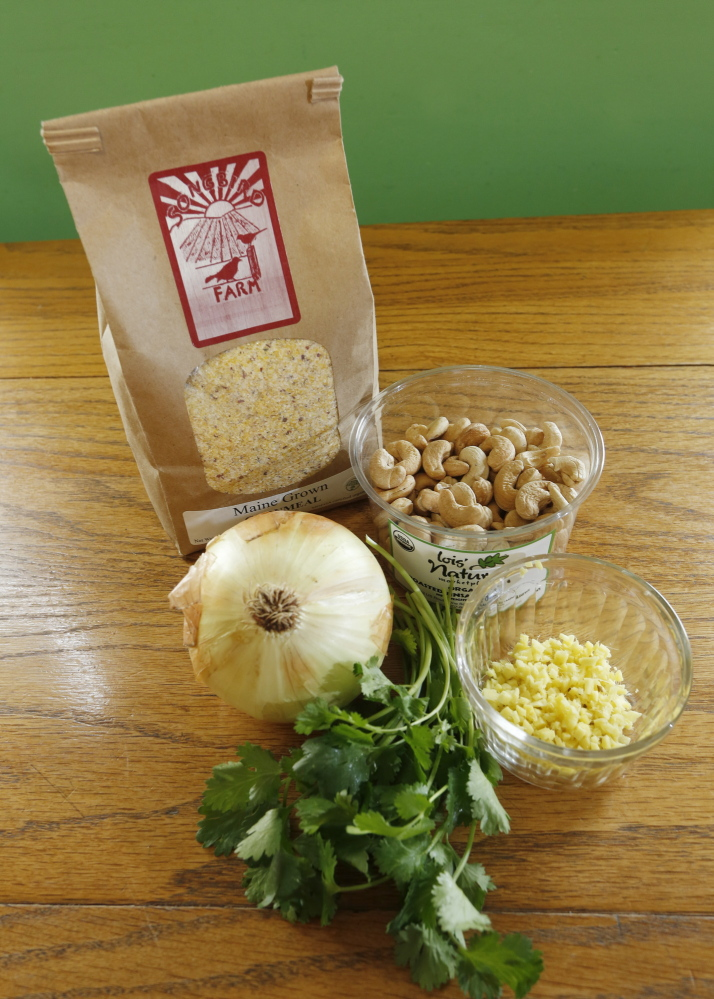 Kamila uses Maine-grown cornmeal plus onion, cashews, ginger and cilantro in her Cashew Corn Cakes.