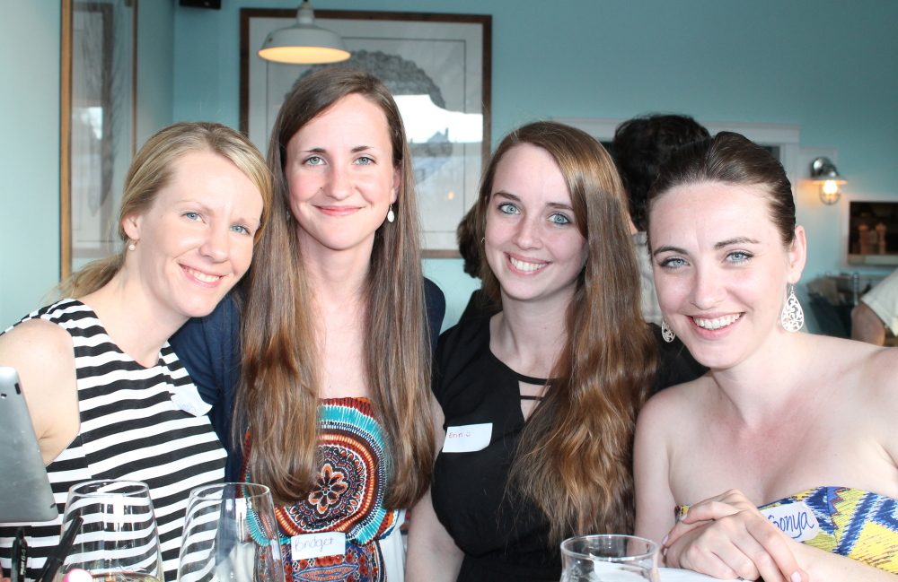 Mary Crowley, left, a nursing student at the University of Southern Maine, with fellow USM students Bridget Dotterweich, Erin Wadlinger and Sonya McDonald at the celebration for Partners for Rural Health in the Dominican Republic. All four plan to go on the organization's medical mission in July.