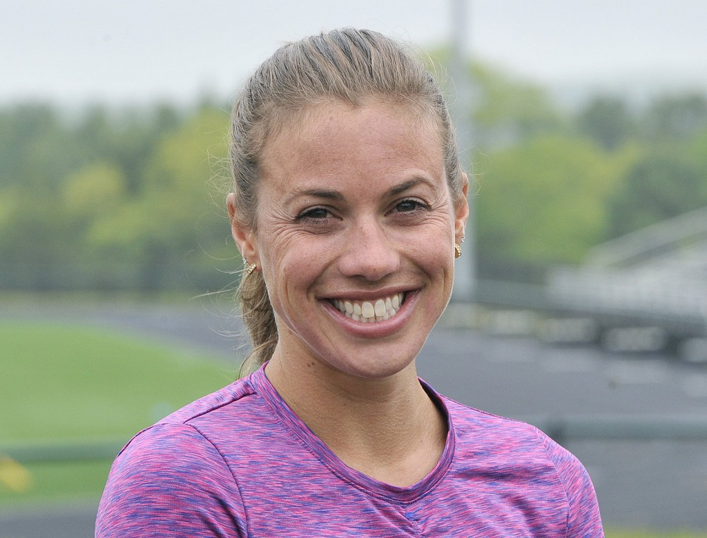 American elite distance runner Michelle Lilienthal arrives for a workout at Falmouth High School.