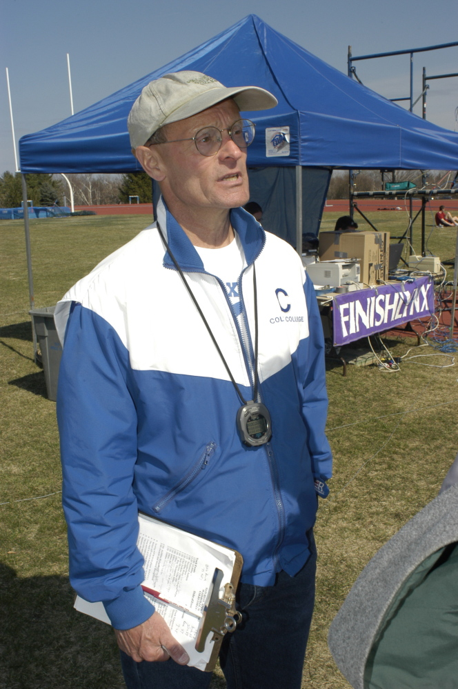 Coach: Jim Wescott coached the Colby track and field team for 25 years, from 1978 to 2003. Photo by Jeff A. Earickson / Courtesy of Colby College