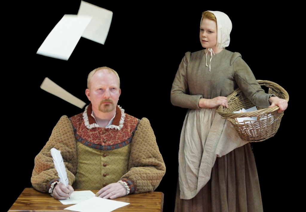 "Peter Brown plays Shakespeare and Carrie Bell-Hoerth portrays Shakespeare's daughter Judith in ""Equivocation."""