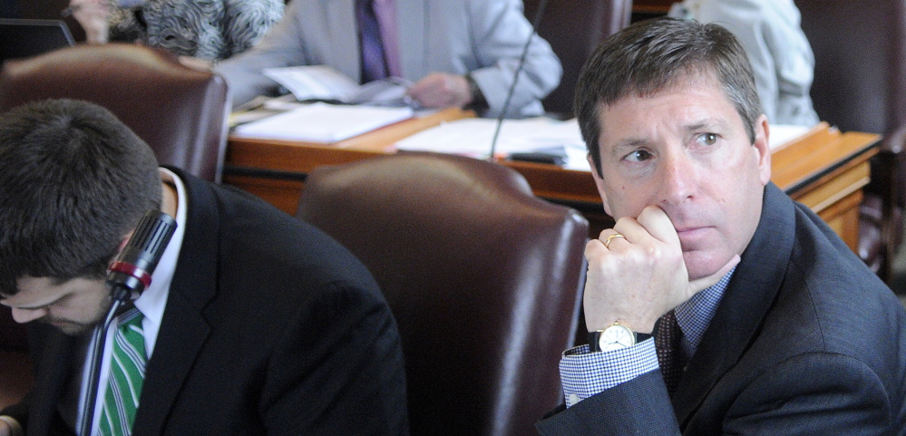 House Minority Leader Kenneth Fredette, R-Newport, right, is shown  the Maine House of Representatives in Augusta. His choice of sources for information tell a story about how information can become distorted. 2014 Kennebec Journal File Photo/Andy Molloy