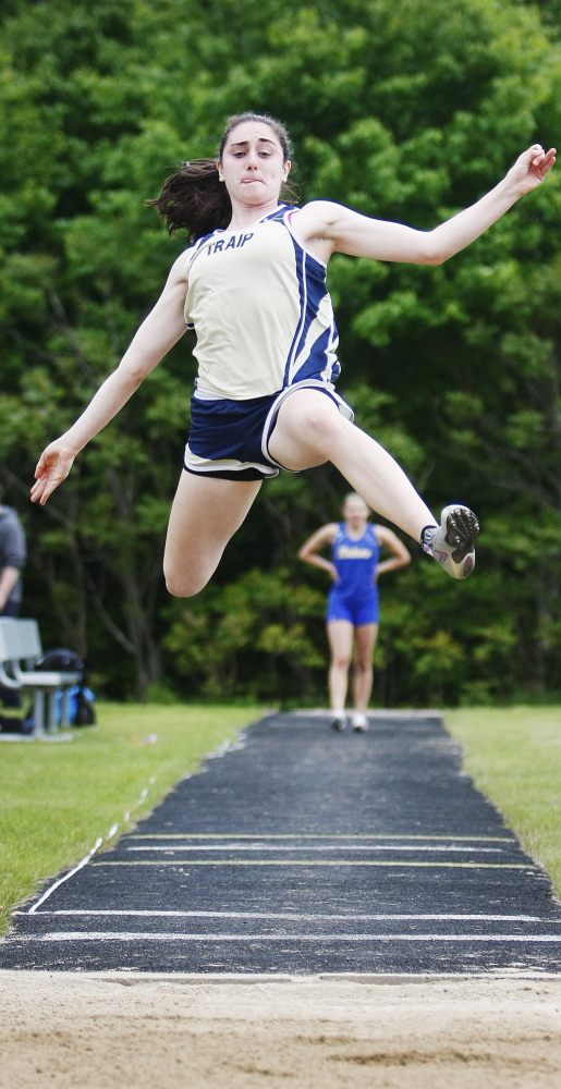 Ashleigh Roberts of Traip Academy placed second in the WMC Division II long jump with a leap of 15-11 .