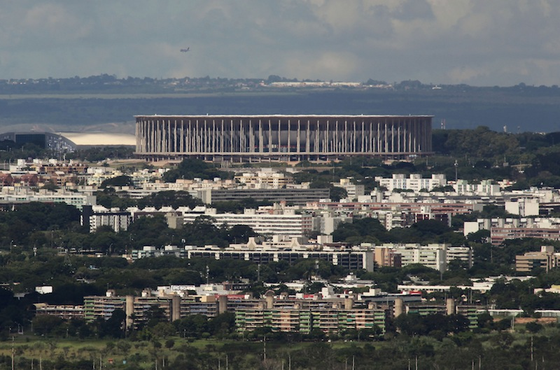 This April 7 photo show a view of the Mane Garrincha stadium, in Brasilia, Brazil. No World Cup project has been as criticized as Brasilia's stadium.