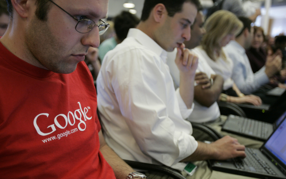 Google's employee breakdown is 61 percent white and 30 percent Asian. Hispanics and blacks comprise 5 percent with women at 30 percent. The Associated Press