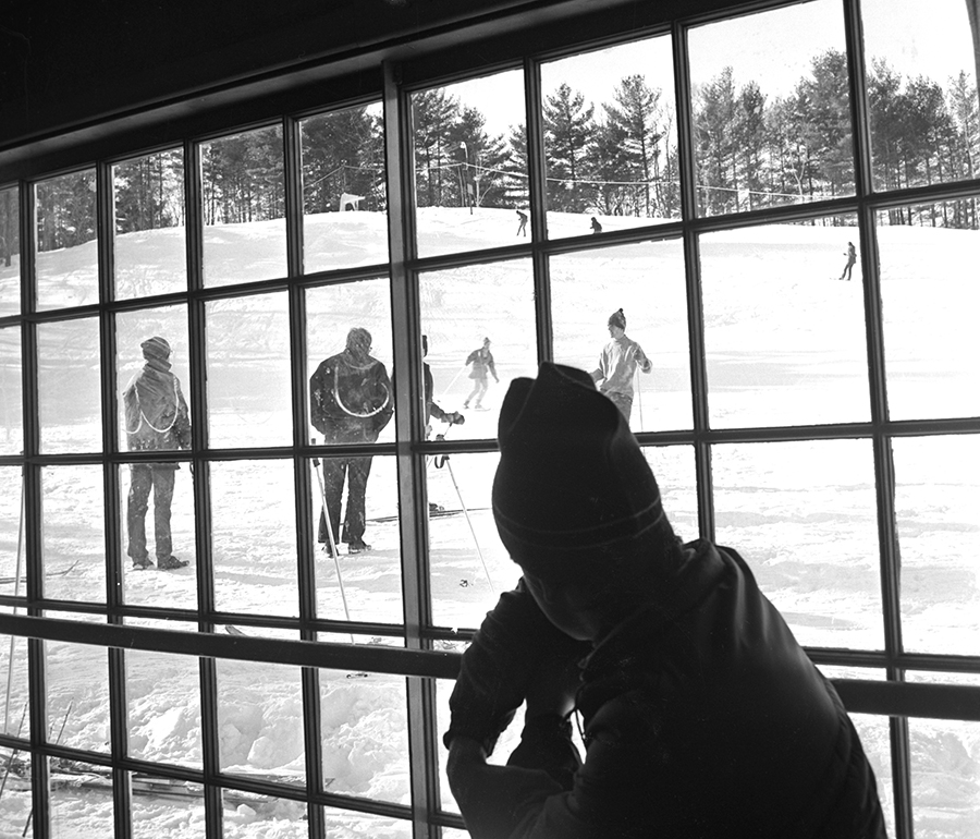 The view from the warming hut at the Gorham Community Ski Tow, located off Water Street in Gorham village. Originally published in the Dec. 31, 1970 edition of the Portland Evening Express. Courtesy of Portland Public Library Special Collections & Archives.
