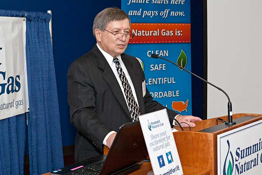 Mike Minkos, president at Summit Natural Gas of Maine, spoke at Thomas College in December about how natural gas will help Thomas College save on their energy costs.