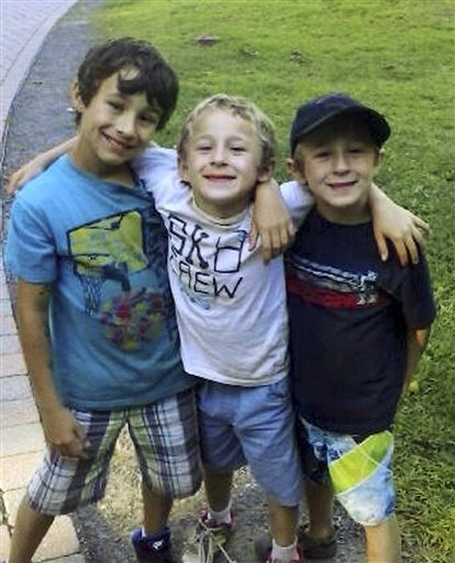 This undated family photo released by the Vernon, Conn., Police Department shows Ryan, Dylan and Brandan Lewis, who were subjects of an Amber Alert search on Tuesday.