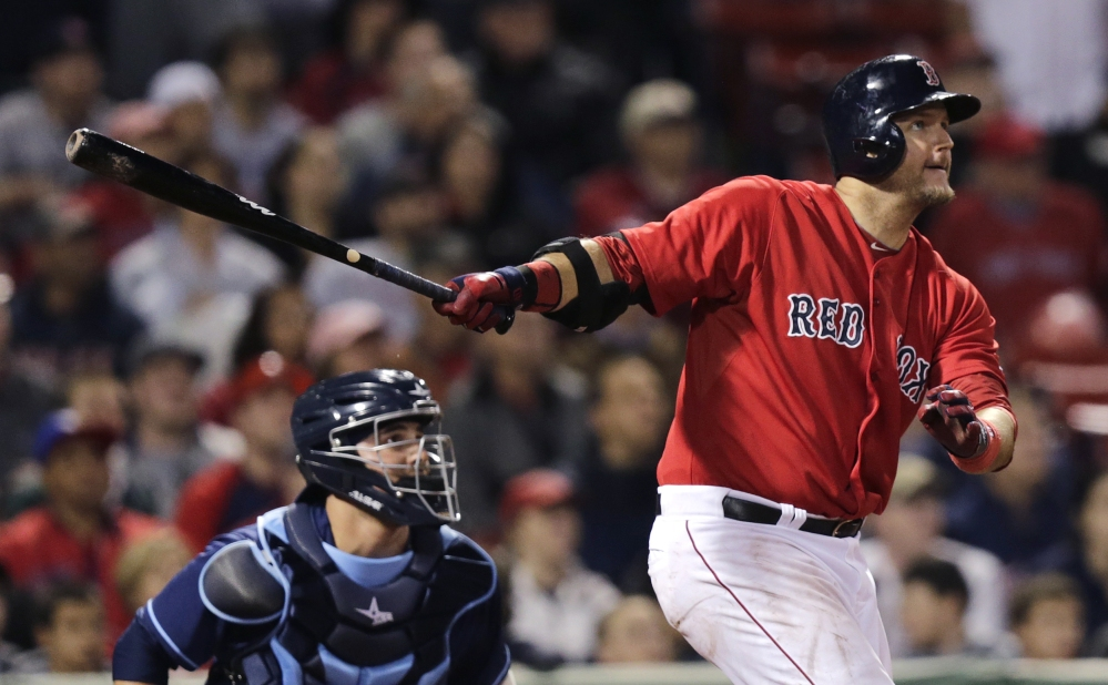 A.J. Pierzynski, seen hitting a game-winning triple on May 30, was designated for assignment as the Red Sox promoted Christian Vazquez from Triple-A Pawtucket. The Associated Press