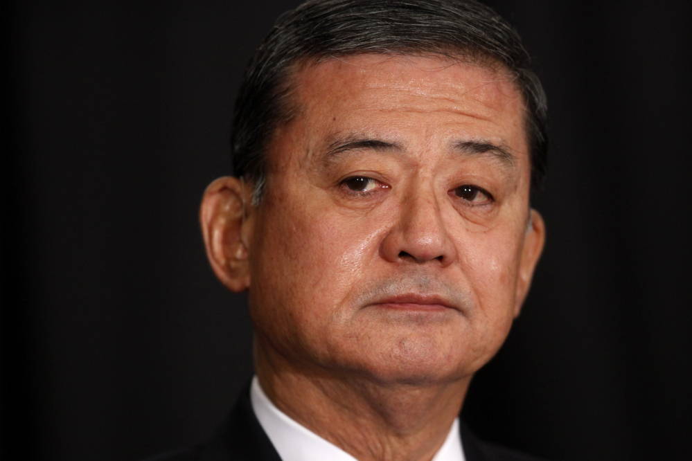 Veterans Affairs Secretary Eric Shinseki is seated before speaking at a meeting of the National Coalition for Homeless Veterans on Friday in Washington. The Associated Press