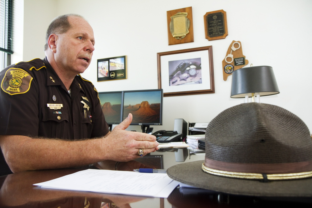PORTLAND, ME - MAY 21: Cumberland County Sheriff Kevin Joyce answers questions about his re election bid in his Cumberland County Sheriffs office on Wednesday, May 21, 2014.  (Photo by Carl D. Walsh/Staff Photographer)