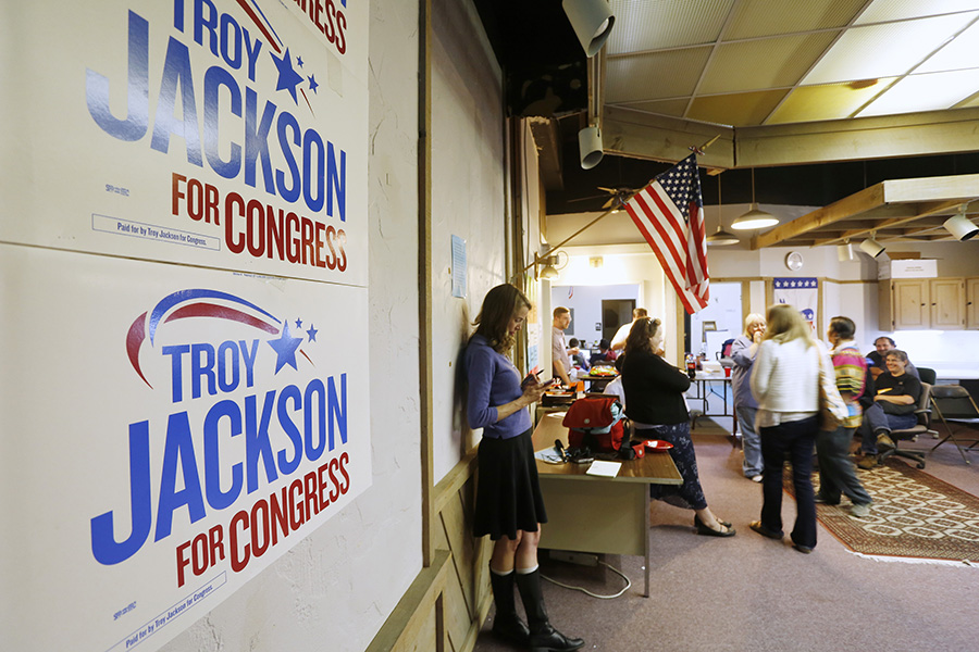 Media and campaign supporters wait for Troy Jackson at his headquarters in Lewiston as results start to come in during primary elections.  Derek Davis/Staff Photographer
